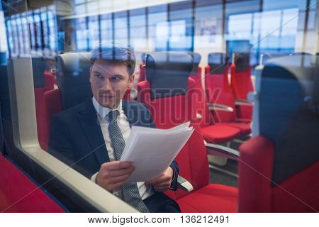 Young man in a train