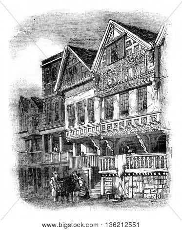 Old houses in Chester, vintage engraved illustration. Magasin Pittoresque 1836.