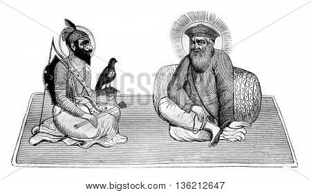 Guru Singh and Baba Nanak, founder of Sikh religion, and after an oriental painting, vintage engraved illustration. Magasin Pittoresque 1836.