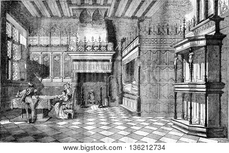 Inside houses in the Middle Ages, vintage engraved illustration. Magasin Pittoresque 1836.