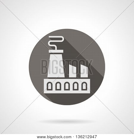Abstract silhouette sign of power plant with long shadow design. Industry and energy. Industrial facilities theme. Round flat color style vector icon.