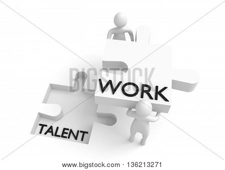 Puzzle piece: Talent and work 3d illustration