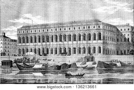 For the edifice of the Quai d'Orsay, taking the side of the river, vintage engraved illustration. Magasin Pittoresque 1836.