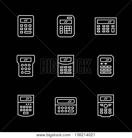 Set line icons of calculator isolated on black. Vector illustration