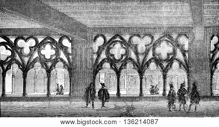 View of the cloister of the former college of Cluny Sorbonne square, vintage engraved illustration. Magasin Pittoresque 1836.