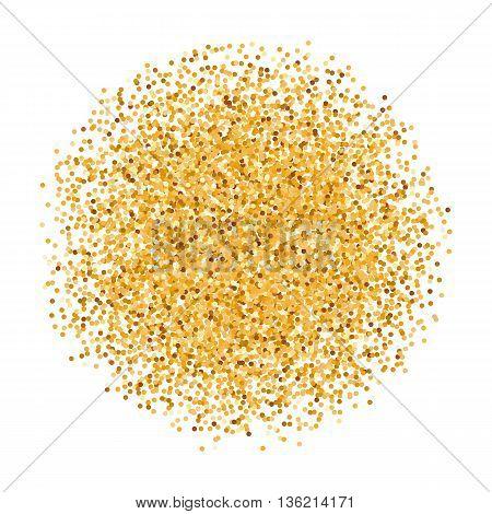 Golden Glitter Round Object on White Background