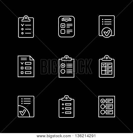 Set line icons of checklist isolated on black. Vector illustration