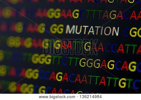 Dna Sequence With Colored Letters On Black Background Containing Mutation