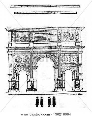 Arch of Constantine in Rome, vintage engraved illustration. Magasin Pittoresque 1836.