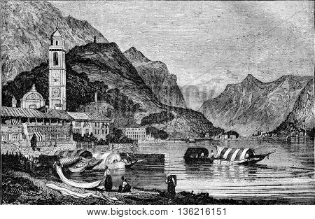 View of Lake Como in Lombardy, vintage engraved illustration. Magasin Pittoresque 1836.