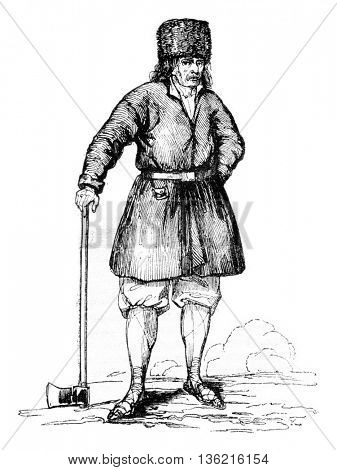 Peasant nearby Warsaw, vintage engraved illustration. Magasin Pittoresque 1836.