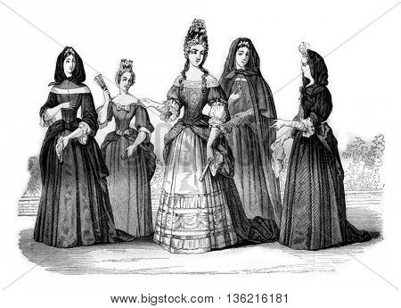 Establishment of the ladies of St. Louis, vintage engraved illustration. Magasin Pittoresque 1842.