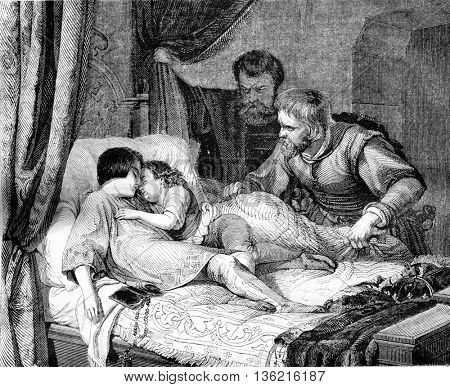 Doubts about the tragic death of children of Edward, vintage engraved illustration. Magasin Pittoresque 1842.