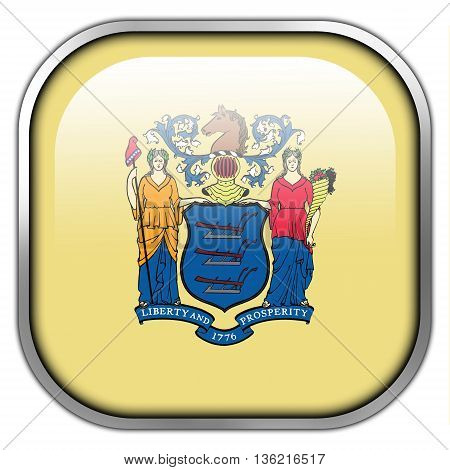 Flag Of New Jersey State, Square Glossy Button