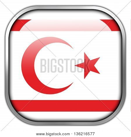 Flag Of Northern Cyprus, Square Glossy Button