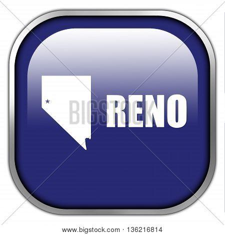Flag Of Reno, Nevada, Square Glossy Button