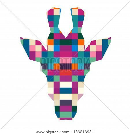 Animal head giraffe triangular pixel icon , geometric trendy line design. Vector illustration ready for tattoo or poster. Animal Africa - giraffe.