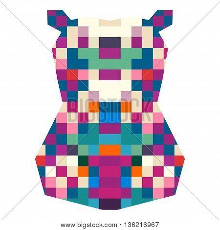Animal head hippopotamus triangular pixel icon , geometric trendy line design. Vector illustration ready for tattoo or poster. Animal Africa - hippopotamus.