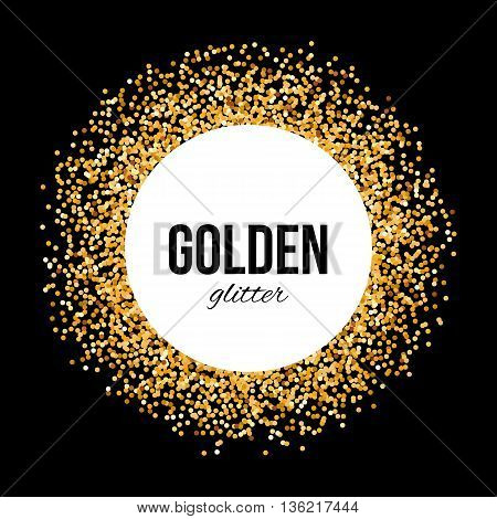 Golden Circle Frame on Black Background with Text - Golden Glitter