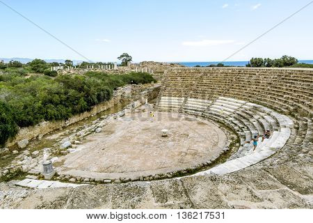 May 24 2016.Famagusta.Ruins and ancient amphitheatre in the ancient city of Salamis in Famagusta .Northern Cyprus.