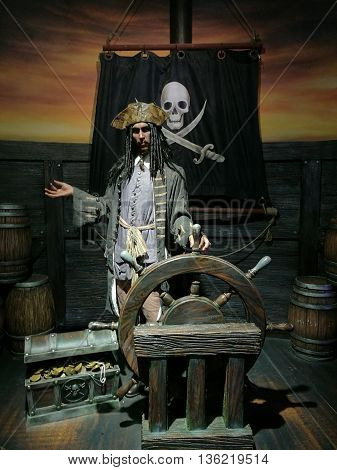 Da Nang, Vietnam - Jun 20, 2016: Johnny Depp wax statue on display at Ba Na Hills mountain resort. John Christopher