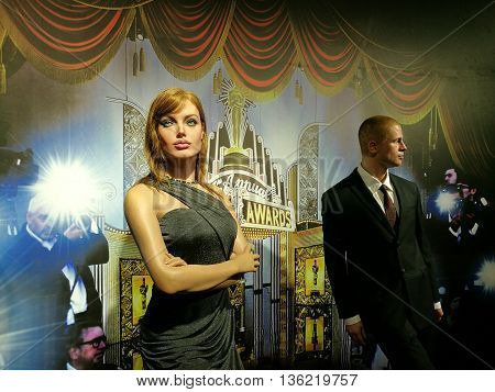Da Nang, Vietnam - Jun 20, 2016: Angelina Jolie and Brad Pitt wax statue on display at Ba Na Hills mountain resort. Angelina is an American actress, Pitt is an actor, filmmaker, and humanitarian.