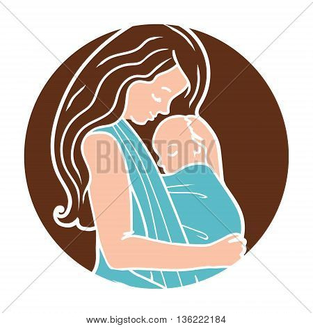 Vector Babywearing Round Logo With Mother Hugging Baby In a Sling. Simple lineart style. Perfect for blog posts, cards, print articles.