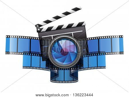 Online movie theater cinema art concept creative icon design with clapper film tape and glass lens vector illustration isolated on white transparent background