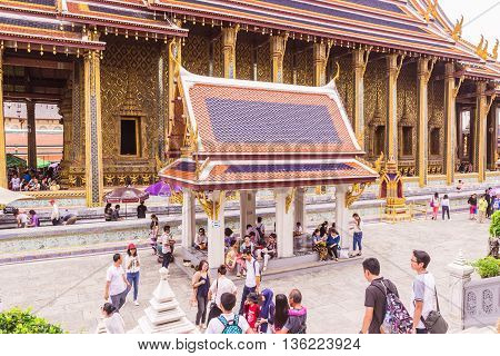 Bangkok, Thailand - June 5, 2016 : A lot of tourists at the Emerald Buddha temple or