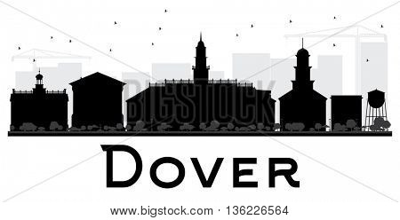Dover City skyline black and white silhouette. Vector illustration. Simple flat concept for tourism presentation, banner, placard or web site. Business travel concept. Cityscape with landmarks