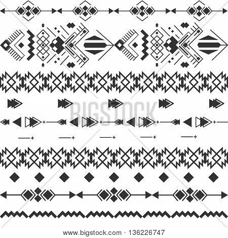 Vector black white navajo aztec seamless pattern. Aztec abstract geometric print. Ethnic hipster backdrop. Ornament geometric aztec seamless pattern. Triangle geometric aztec seamless pattern.