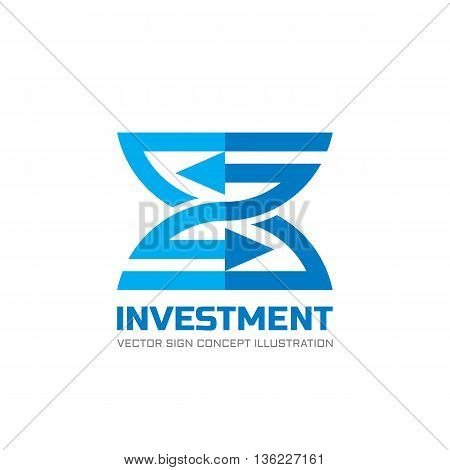 Investment - vector business logo concept illustration in flat style. Finance economic creative sign. Abstract stripes with arrows. Vector logo template. Design element.
