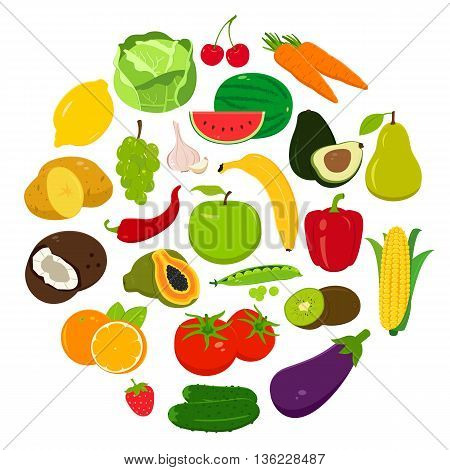 Fruits and Vegetables icons. Organic fruits and vegetables template. Healthy eating concept. Vector illustration
