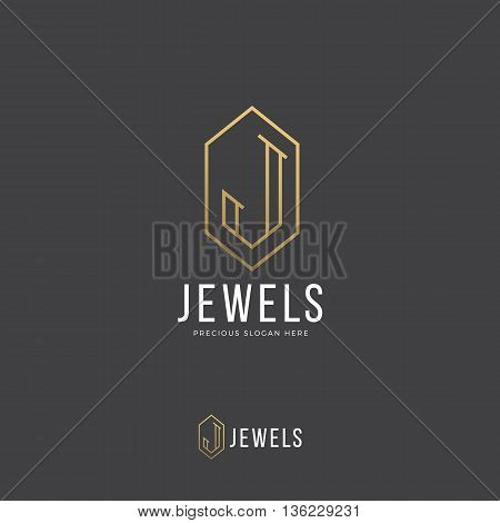 Jewels Abstract Vector Logo Template. Hand Drawn Letter J Incorporated in a Diamond or Crystal Shape. Golden Gradient and Modern Typography. On Dark Background. Horizontal, Vertical Versions.