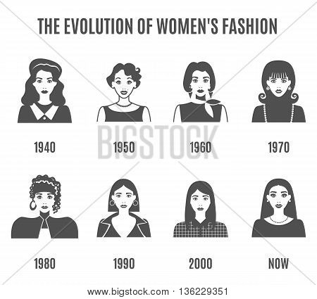Women Fashion Black White Icons Set. Fashion Evolution Vector Illustration. Fashion Evolution Decorative Set.  Fashion Evolution Avatar Design Set. Fashion Evolution Flat Isolated Set.