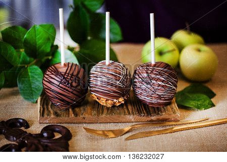 dessert an apple dipped in chocolate on a stick, food sweets candy