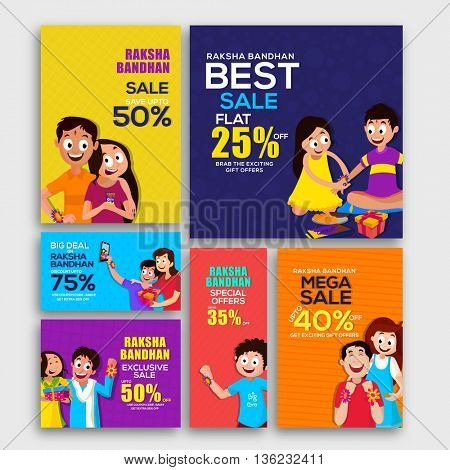 Raksha Bandhan Sale with Discount Offer, Creative Social Media Post, Header or Banner set with cute characters, Concept for Indian Festival of Brothers and Sisters celebration.