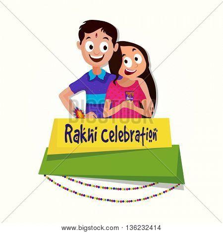 Cute Brother and Sister enjoying on occasion of Raksha Bandhan, Shiny Paper Banner with stylish text Rakhi Celebration, Creative background for Indian Festival celebration.