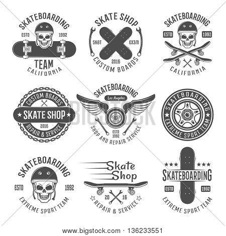 Skateboarding black emblems with descriptions of skateboarding team California skate shop custom boards and different vector illustration