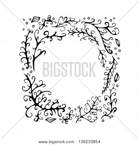 stock vector abstract leaf frame pattern. summer design elements for template