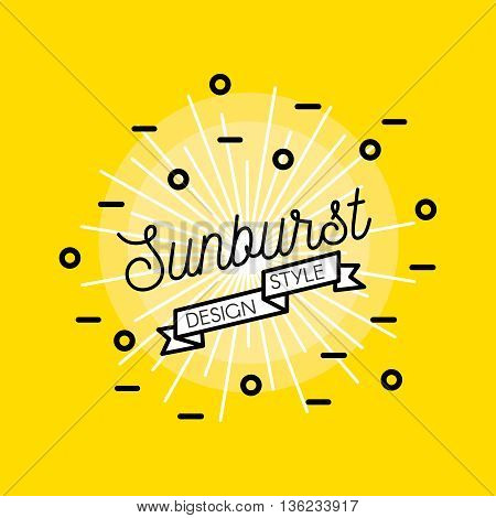 Sunburst flat design with bright star black inscription and decorative elements on yellow background vector illustration