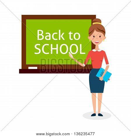 School Woman Teacher With Chalkboard