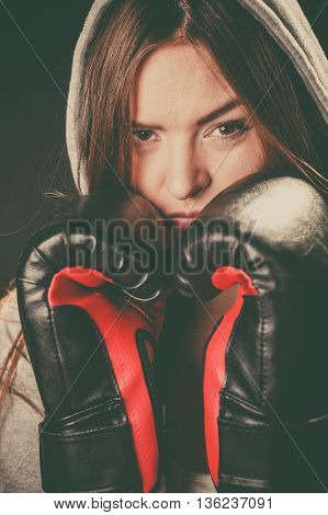 Woman Cover Face With Boxing Gloves.