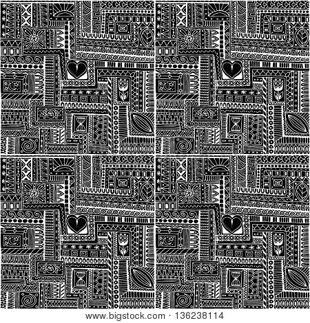 Seamless asian ethnic floral retro doodle monochrom background pattern in vector. Henna paisley mehndi doodles design tribal black and white pattern