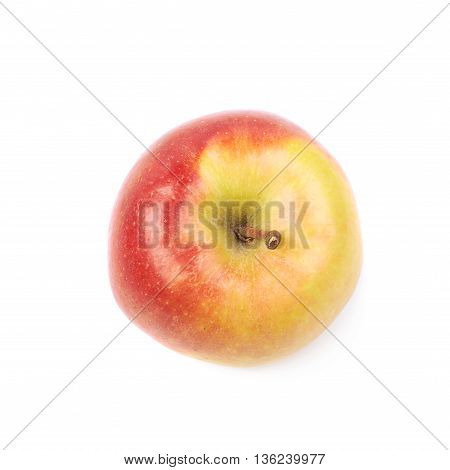 Single ripe red and golden jonagold apple isolated over the white background, top view above