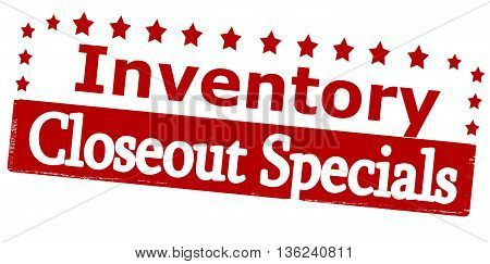 Rubber stamp with text inventory closeout specials inside vector illustration