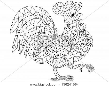 Cock coloring book for adults vector illustration. Anti-stress coloring for adult rooster. Zentangle style bird chicken. Black and white lines. Lace pattern