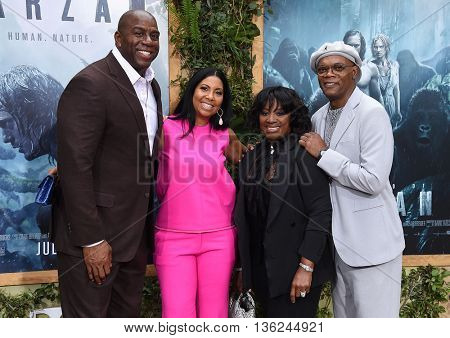 LOS ANGELES - JUN 27:  Magic Johnson, Cookie Kelly, LaTanya Richardson & Samuel L. Jackson  arrives to the