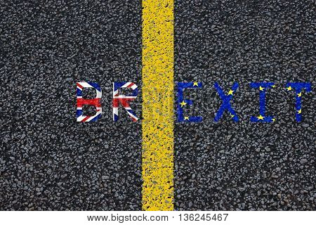 Brexit Blue European Union Eu Flag And Uk Great Britain United Kingdom Flag, Over Tarmac, Road Marki
