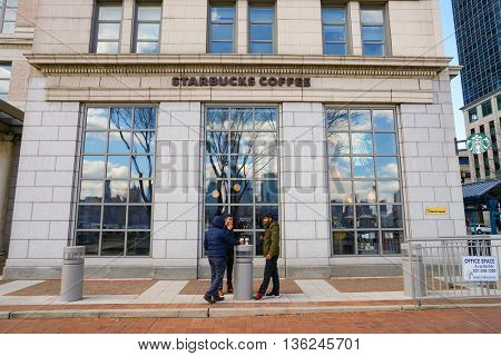 JERSEY CITY, NJ - CIRCA MARCH, 2016: Strabucks cafe in Jersey City. Jersey City is the second most populous city in the U.S. state of New Jersey after Newark.